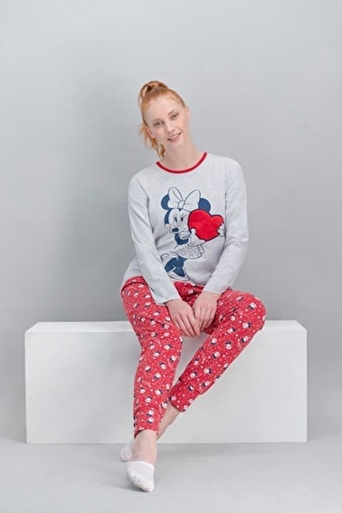 Minnie Mouse Minnie Mouse Lisanslı Karmelanj Kadın Pijama Takımı Gri